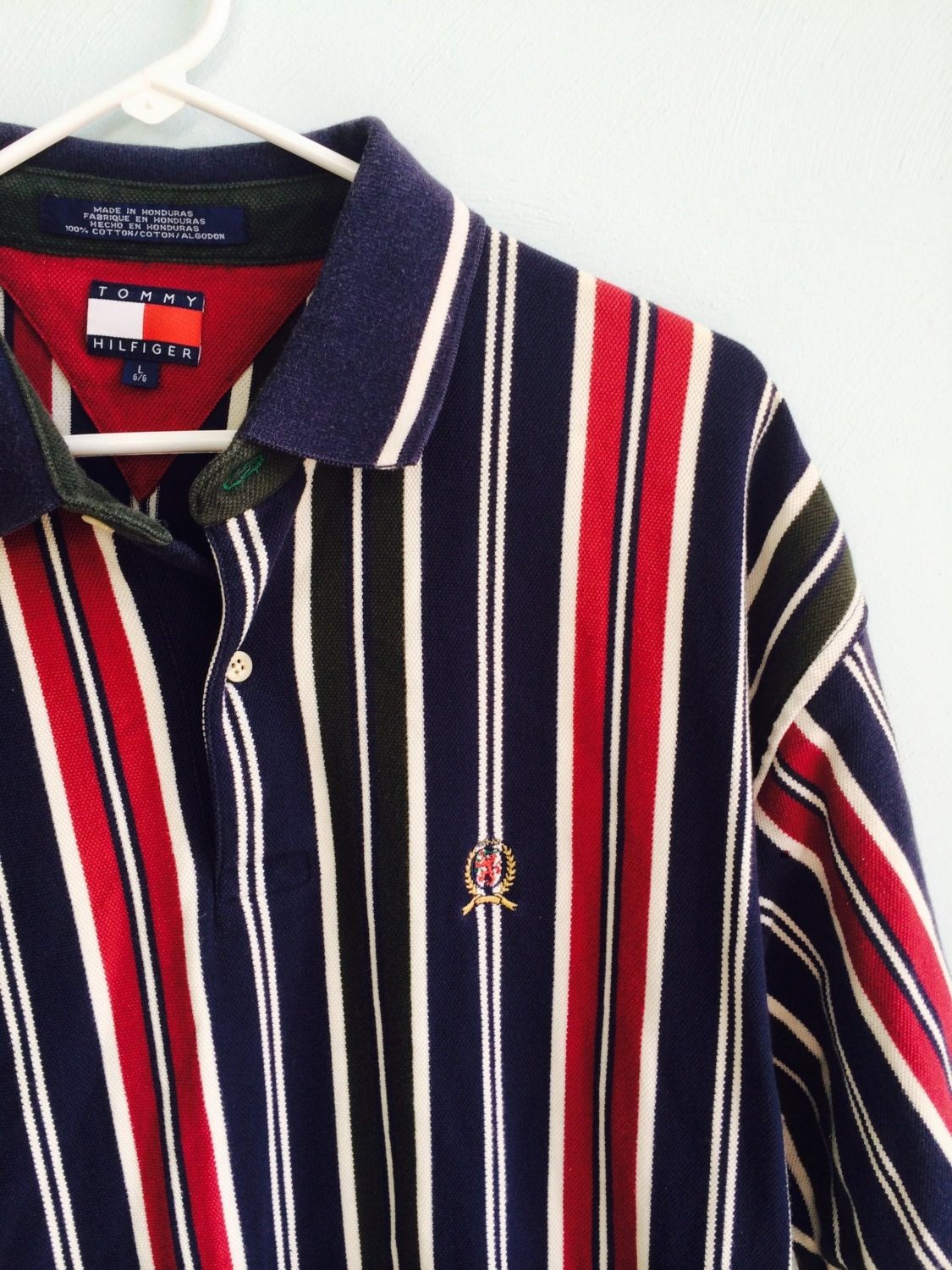 vintage 90s striped tommy hilfiger polo shirt large. Black Bedroom Furniture Sets. Home Design Ideas
