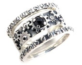 Stacking Steampunk Ring with Rose Cut Black Diamond