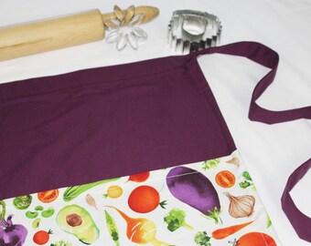Garden Vegetables Adult Apron - purple
