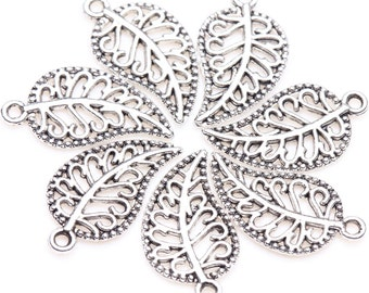 20 Silver Leaf Charms, Leaf Charms, Leaves, Nature Charms, DIY Charms, Silver Tone Charms, Nature Charms, Nature, Leafs,Charms