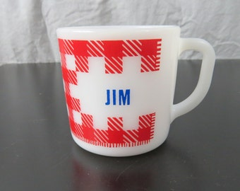 Vintage 1960's Westfield Milk Glass Plaid Red and White Coffee Mug Looking For Jim    Box Q