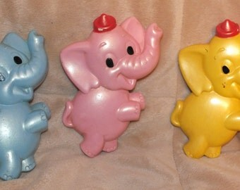 1972 Miller Studio Chalkware Elephants Set of 3 Baby's Room Decor