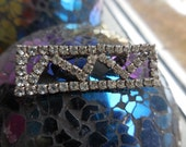 Vintage Silver Tone Rectangle Pronged Rhinestone Narrow 1940s to 1960s Small Sparkly Pin/Brooch Zig Zag