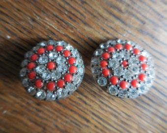 Vintage 1940s to 1950s Small Round Clip on Earrings Silver Tone Non Pierced Rhinestones and Red/Orange Beads