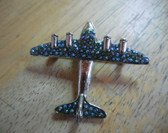 Vintage Silver Tone Airplane Pin/Brooch by Wendy Gell Blue Stones Plane 1980s to 1990s
