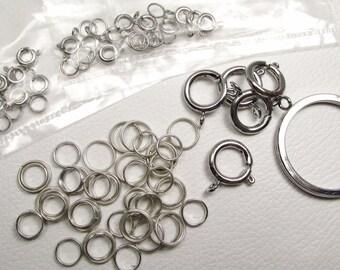 Spring Rings, Jump Rings, Split Rings: Destash Lot of 80 Silvertone Metal Pieces