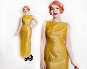 Vintage 1960s Dress - Gold Lame Lurex Wiggle Hourglass Bombshell Gown 60s - Small