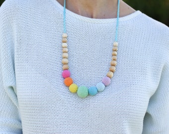 Aqua Simple Rainbow Nursing Necklace / Crochet Teething Necklace, Mama Jewelry Handmade Wood - KangarooCare