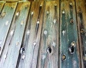 Weathered Painted Plank Door, 10x10 Rustic Photo Teal Blue Gray