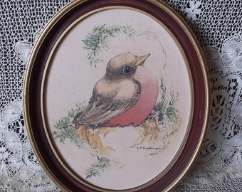 Vintage bird picture, teastained, rustic chic, oval framed picture of robin