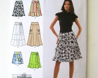 2000s Skirt Pattern Simplicity 2655 Womens Below Waist Gored Tiered or Ruffled Skirt Sewing Pattern Size 16-18 Waist 30-32