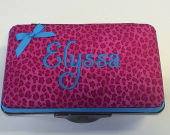 Personalized Kids School Pencil Box Case Hot Pink Cheetah