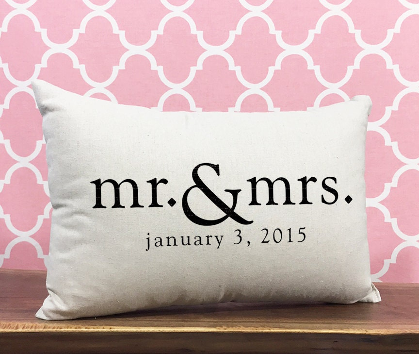 Mr & Mrs Personalized Wedding Pillow Anniversary Gift By