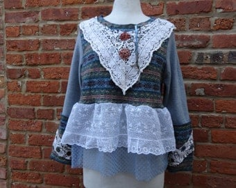 Victorian Sweater,Shabby Chic Sweater,Boho Sweater,Upcycled Sweater by Nine Muses Of Crete