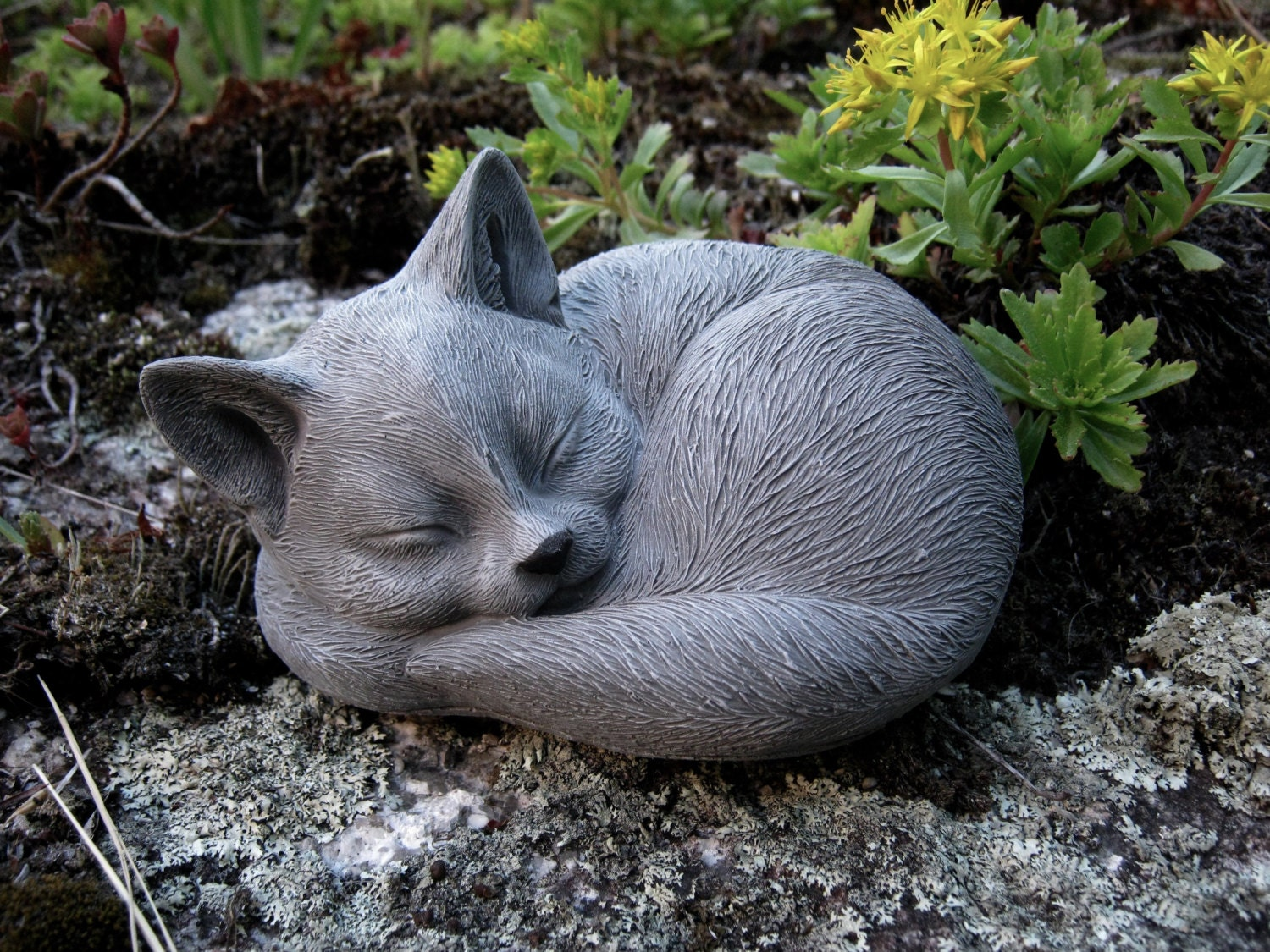 Cat Statue Concrete Cat Figure Sleeping Cat Statues Cement