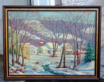 """Large Vintage 1940's Landscape Oil Painting of Winter Scene by New York Artist W.H. Mann titled """"The Village Church"""" - Spectacular!!"""