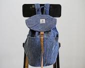 Handmade recycled blue denim vegan backpack
