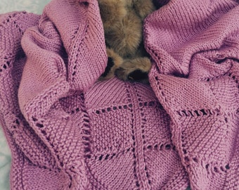 Beautiful Hand Knit Pink Baby Blanket / Afghan
