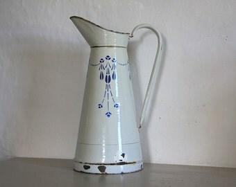 Antique  French Enamel Pitcher/ Jug White / Blue 1930's