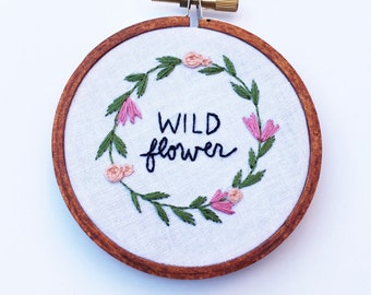 Hand Embroidered Tiny Hoop Wild Flower Nursery Art Home Decor Gift Add On Nature Lover Hippie Child Baby