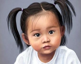 Custom Digital Baby Portrait - Realistic Painting , Printable Digital File