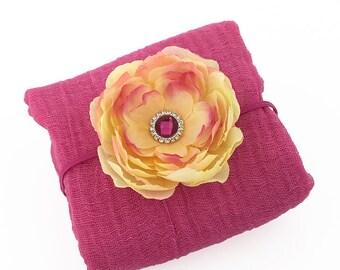 Fuchsia Newborn Wrap - Cotton Cheesecloth Photo Prop Yellow Peach Fuchsia Open Peony Flower Headband for Baby Girl Baby Shower Gift