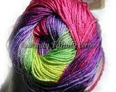 Multicolor yarn selfstriping Alize Diva Batik Design with silk effect c 3241 Hypoallergenic Microfiber Yarn in pink purple and green DSH(P1)