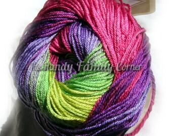 Multicolor yarn selfstriping Alize Diva Batik Design with silk effect c 3241 Hypoallergenic Microfiber Yarn in pink purple and green DSH(P5)