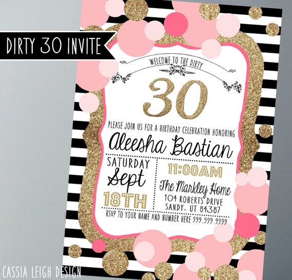 Printable birthday party invitations gold pink black and white il570xn filmwisefo