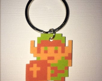 Classic Link - Legend of Zelda 8 bit Keychain, Cell Phone Charm, Sterling Silver Earrings, Clip on Earrings or Necklace
