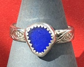 Cobolt Blue Size 8 1/4 Dainty Sea Glass Sterling Silver Ring