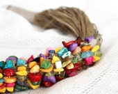 Nature linen necklace with colorful stones. Rainbow colors. Natural necklace. Multicolor