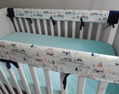 TeePee in Aqua and Orange Crib Teething Rail Padded Front Cover with Minky Accents - Adventurer Indian Summer in Grey