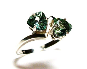 """Topaz ring, green topaz, anniversary ring, green ring, 2 stone ring, green,  s 7 """"Weeping Willow"""""""