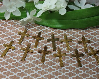 1 Vintage Solid Brass Etched Cross Charm