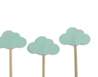 24 Blue Cloud Party Picks, Cupcake Toppers Party Picks, Food Picks