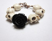 RESERVED White Black Sugar Skull Bracelet Day of the Dead Rose Strand Jewelry