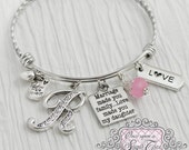 Daugher in Law Bracelet -Marriage made you famiily love made you my daughter -Step Daughter Jewelry-Expandable Bangle-Charm Bracelet, Love