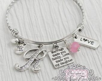 Daughter in Law Bracelet -Marriage made you family love made you my daughter -Step Daughter Jewelry-Expandable Bangle-Charm Bracelet, Love