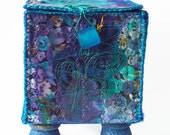 EMBROIDERED TEXTILE BOX, jewellery box, keepsake box, textile art, blue, purple, garden, abstract, machine embroidered, ooak