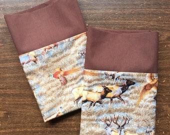 Pillow Case set in a Wonderful Hunters Wilderness pattern 100% cotton standard/queen