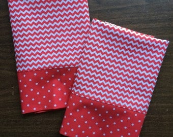 Red and White Chevron Pillow Case  Set Standard/queen red and white polka dot cuff