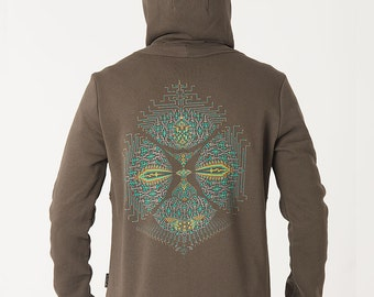 Mens Hoodie Jacket With Psychedelic Face Print, Mens Zip Hoodie, Olive Green Hoodie, Psychedelic Clothing, Uv Reactive, SOL