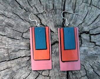 Tri-Color Hand Painted Earrings: Blue, Orange and Coral