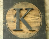 Large Block Typewriter letter K Black Letter Wood decor K
