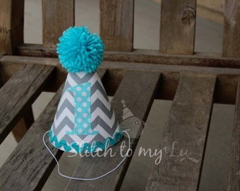 First Birthday HAT ONLY Gray Grey Chevron Aqua Turquoise Polka Dots 1st Birthday Outfit Toddler Baby Boy or Girl