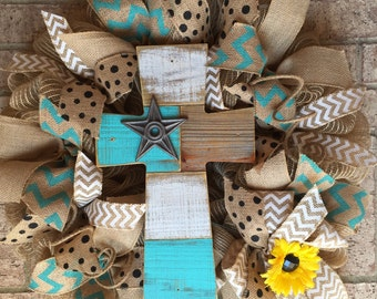 Turquoise Burlap Wreath with Reclaimed Wood Cross