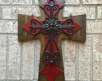 Large Antiqued Red Wall Wood Wall Cross