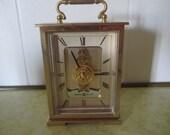 Howard Miller Gold Brass Desk Clock Battery Operated Skeleton Movement