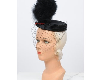 1950s hat/ 50s feather plume veil hat